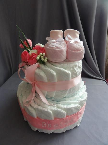 Торт из памперсов для девочки своими руками одноярусный 31