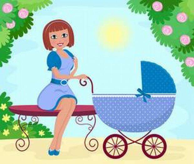 Как рисовать коляску с мамой